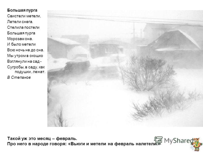 Такой уж это месяц – февраль. Про него в народе говоря: «Вьюги и метели на февраль налетели.» Большая пурга Свистели метели, Летели снега. Стелила пос