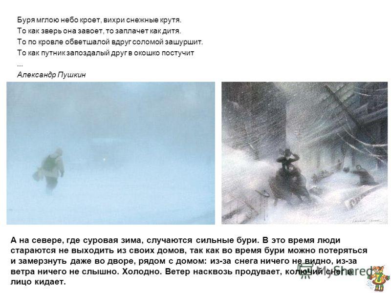 А на севере, где суровая зима, случаются сильные бури. В это время люди стараются не выходить из своих домов, так как во время бури можно потеряться и