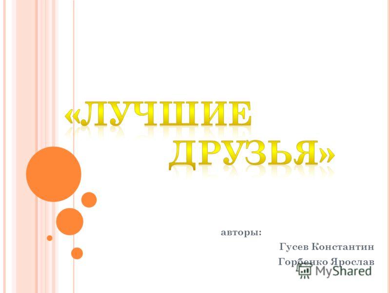 авторы: Гусев Константин Горбенко Ярослав