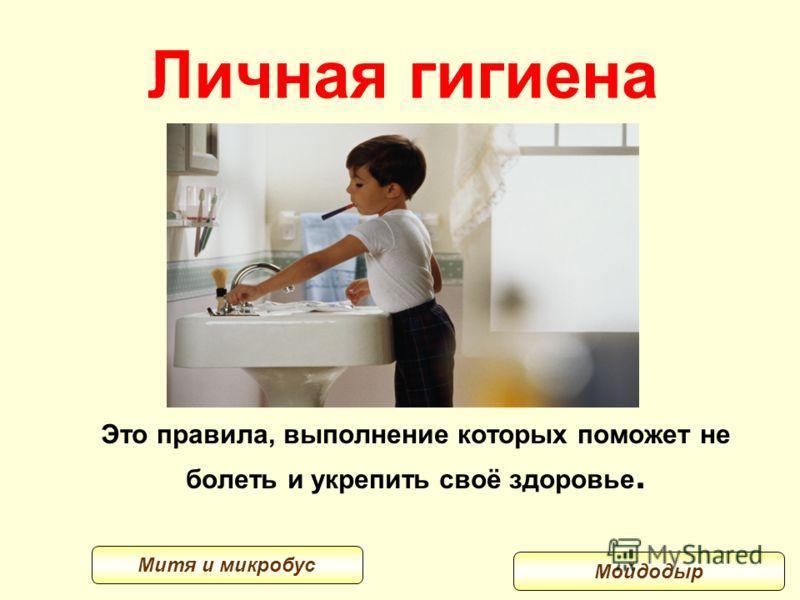 Личная гигиена Это правила, выполнение которых поможет не болеть и укрепить своё здоровье. Мойдодыр Митя и микробус