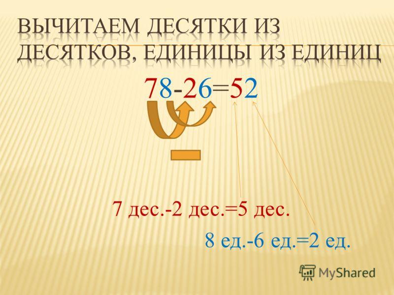 78-26=52 7 дес.-2 дес.=5 дес. 8 ед.-6 ед.=2 ед.