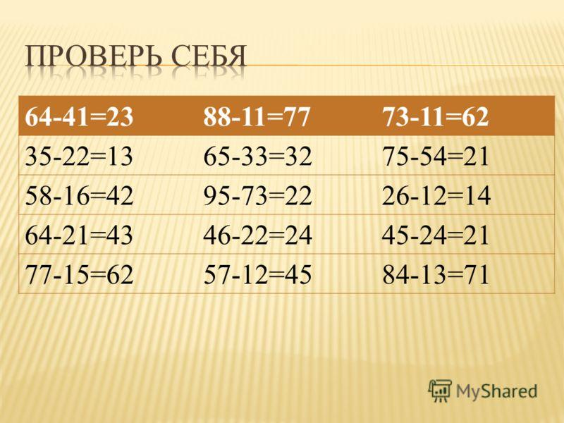64-41=2388-11=7773-11=62 35-22=1365-33=3275-54=21 58-16=4295-73=2226-12=14 64-21=4346-22=2445-24=21 77-15=6257-12=4584-13=71