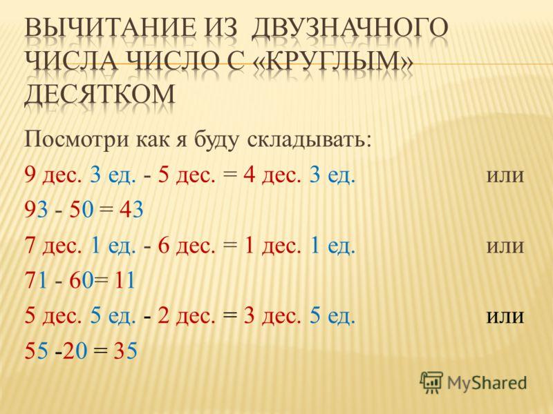 Посмотри как я буду складывать: 9 дес. 3 ед. - 5 дес. = 4 дес. 3 ед. или 93 - 50 = 43 7 дес. 1 ед. - 6 дес. = 1 дес. 1 ед. или 71 - 60= 11 5 дес. 5 ед. - 2 дес. = 3 дес. 5 ед. или 55 -20 = 35
