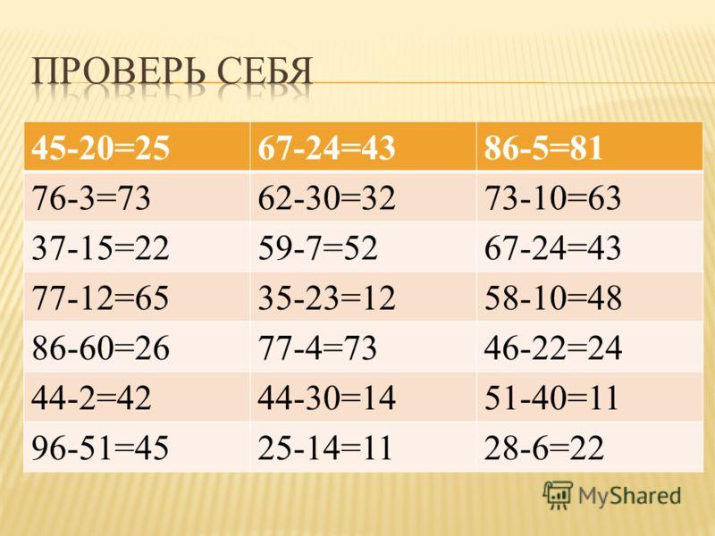 45-20=2567-24=4386-5=81 76-3=7362-30=3273-10=63 37-15=2259-7=5267-24=43 77-12=6535-23=1258-10=48 86-60=2677-4=7346-22=24 44-2=4244-30=1451-40=11 96-51=4525-14=1128-6=22