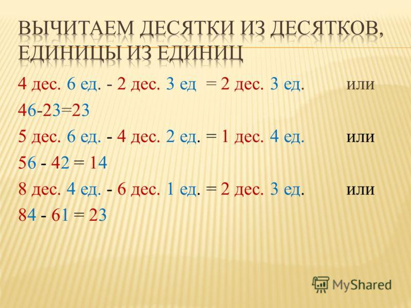 4 дес. 6 ед. - 2 дес. 3 ед = 2 дес. 3 ед. или 46-23=23 5 дес. 6 ед. - 4 дес. 2 ед. = 1 дес. 4 ед. или 56 - 42 = 14 8 дес. 4 ед. - 6 дес. 1 ед. = 2 дес. 3 ед. или 84 - 61 = 23