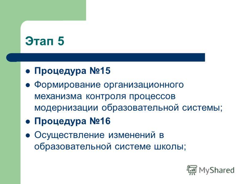 Этап 5 Процедура 15 Формирование организационного механизма контроля процессов модернизации образовательной системы; Процедура 16 Осуществление изменений в образовательной системе школы;