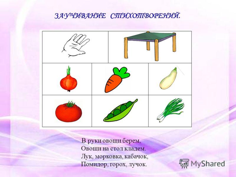 В руки овощи берем, Овощи на стол кладем. Лук, морковка, кабачок, Помидор, горох, лучок. ЗАУЧИВАНИЕ СТИХОТВОРЕНИЙ.