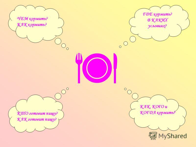 ГДЕ кормить? В КАКИХ условиях? ЧЕМ кормить? КАК кормить? КТО готовит пищу? КАК готовит пищу? КАК, КОГО и КОГДА кормить?