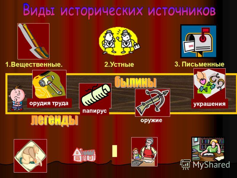 1.Вещественные. 2.Устные 3. Письменные орудия труда папирус оружие украшения