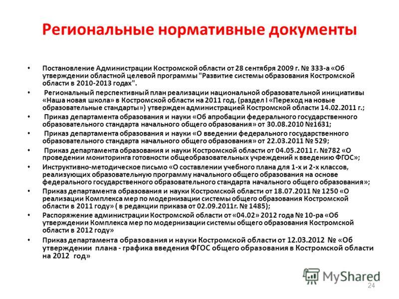 Региональные нормативные документы 24 Постановление Администрации Костромской области от 28 сентября 2009 г. 333-а «Об утверждении областной целевой программы