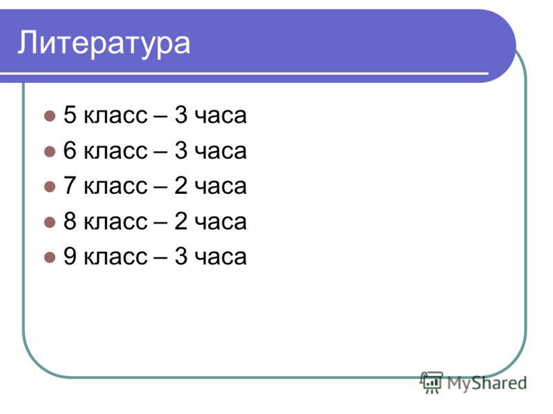 Литература 5 класс – 3 часа 6 класс – 3 часа 7 класс – 2 часа 8 класс – 2 часа 9 класс – 3 часа