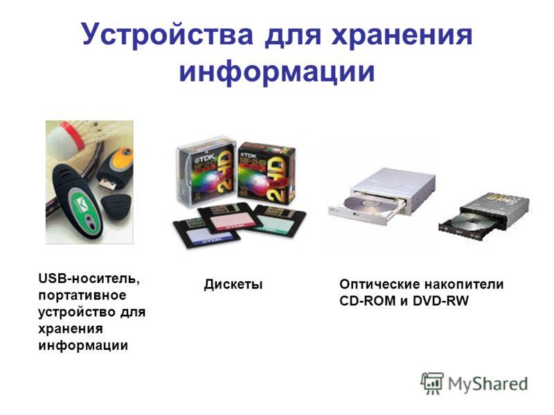 Устройства для хранения информации USB-носитель, портативное устройство для хранения информации ДискетыОптические накопители CD-ROM и DVD-RW
