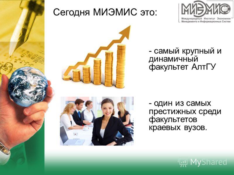 Сегодня МИЭМИС это: - один из самых престижных среди факультетов краевых вузов. - самый крупный и динамичный факультет АлтГУ