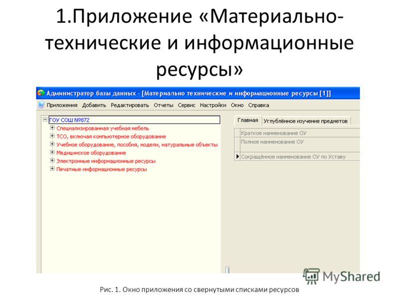 1.Приложение «Материально- технические и информационные ресурсы» Рис. 1. Окно приложения со свернутыми списками ресурсов