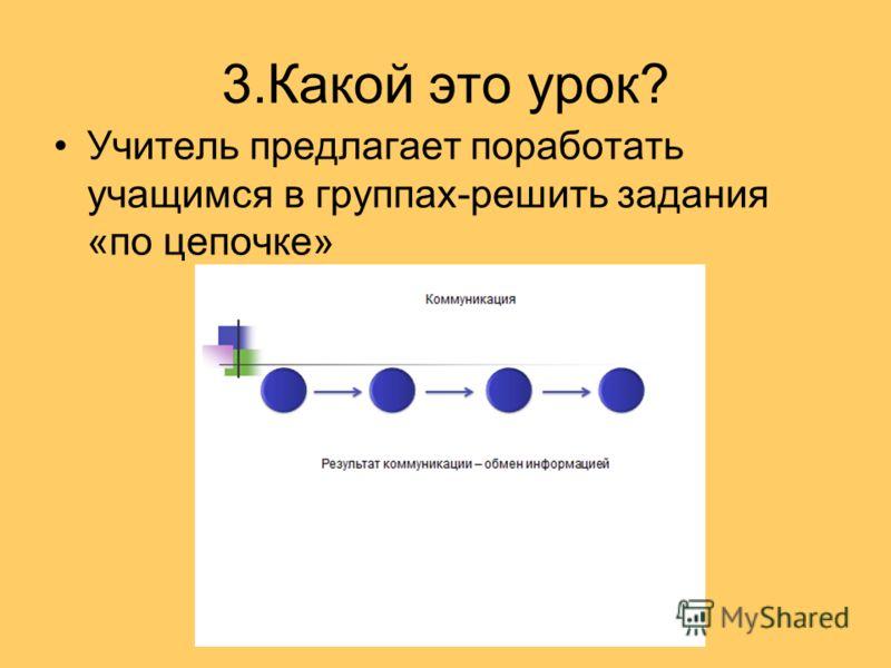 3.Какой это урок? Учитель предлагает поработать учащимся в группах-решить задания «по цепочке»