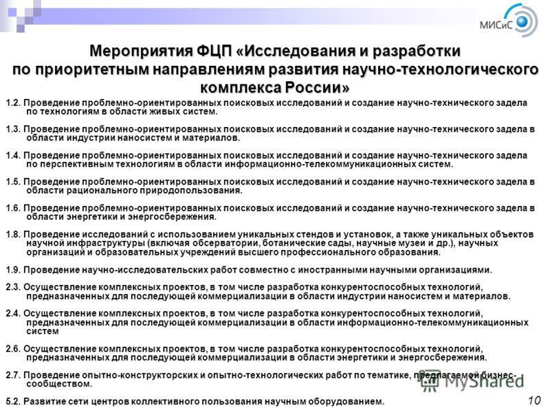 Мероприятия ФЦП «Исследования и разработки по приоритетным направлениям развития научно-технологического комплекса России» 1.2. Проведение проблемно-ориентированных поисковых исследований и создание научно-технического задела по технологиям в области