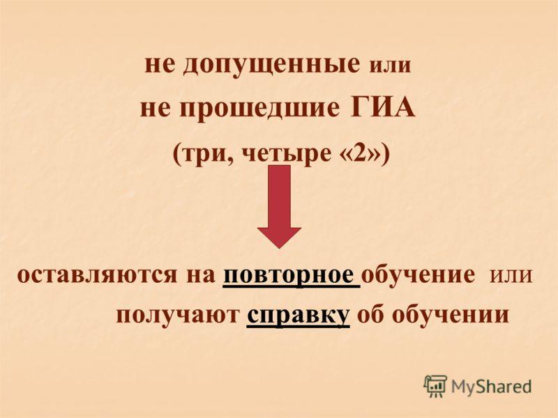 не допущенные или не прошедшие ГИА (три, четыре «2») оставляются на повторное обучение или получают справку об обучении