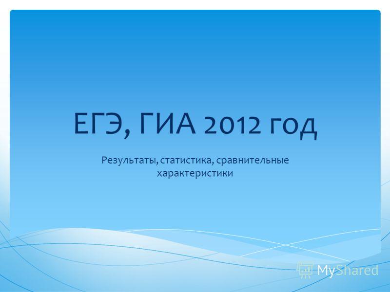 ЕГЭ, ГИА 2012 год Результаты, статистика, сравнительные характеристики