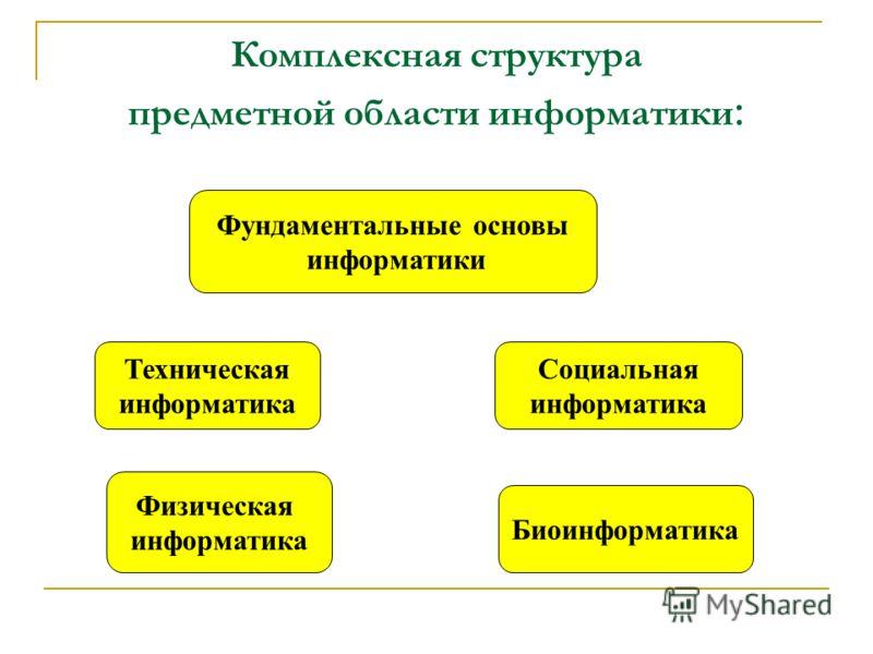 Комплексная структура предметной области информатики : Фундаментальные основы информатики Социальная информатика Физическая информатика Биоинформатика Техническая информатика