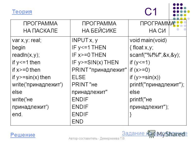 С1 Решение ПРОГРАММА НА ПАСКАЛЕ ПРОГРАММА НА БЕЙСИКЕ ПРОГРАММА НА СИ var x,y: real; begin readln(x,y); if y=0 then if y>=sin(x) then write('принадлежит') else write('не принадлежит') end. INPUT x, y IF y=0 THEN IF y>=SIN(x) THEN PRINT