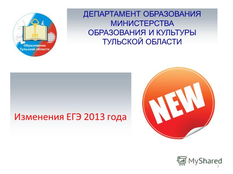 ДЕПАРТАМЕНТ ОБРАЗОВАНИЯ МИНИСТЕРСТВА ОБРАЗОВАНИЯ И КУЛЬТУРЫ ТУЛЬСКОЙ ОБЛАСТИ Изменения ЕГЭ 2013 года 1