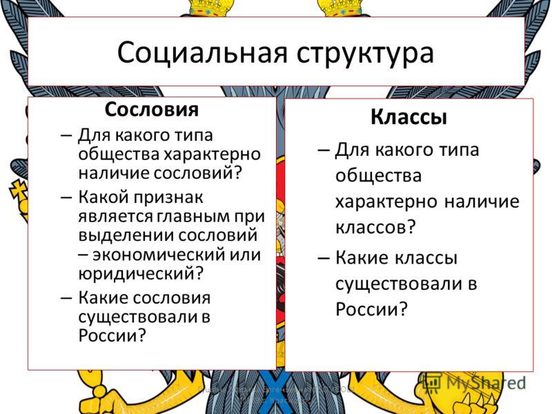 Социальная структура Сословия – Для какого типа общества характерно наличие сословий? – Какой признак является главным при выделении сословий – экономический или юридический? – Какие сословия существовали в России? Гущина Марина Евгеньевна МБОУ СОШ 1