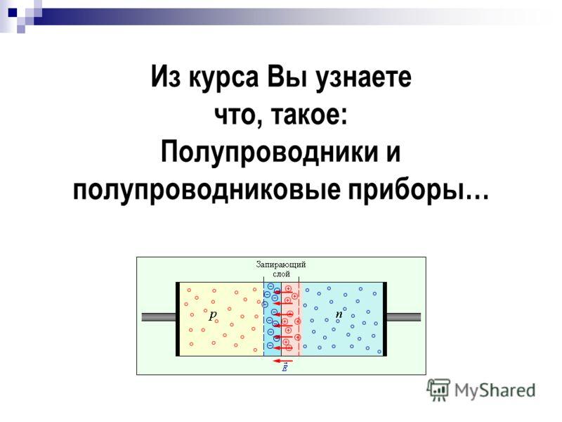 Из курса Вы узнаете что, такое: Полупроводники и полупроводниковые приборы…