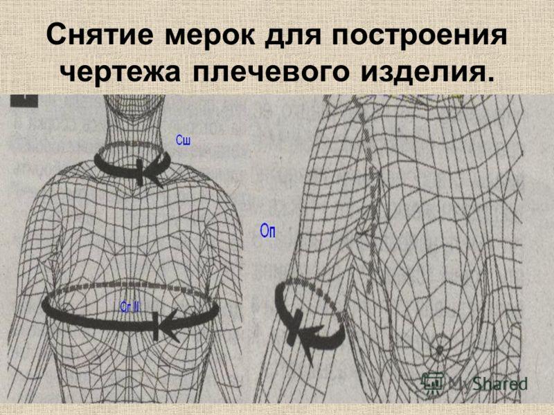 Снятие мерок для построения чертежа плечевого изделия.