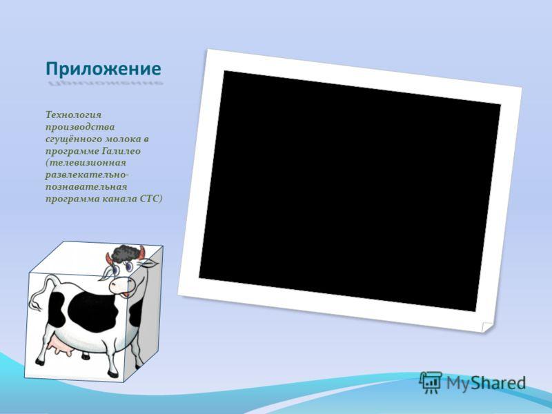 Приложение Технология производства сгущённого молока в программе Галилео (телевизионная развлекательно- познавательная программа канала СТС)
