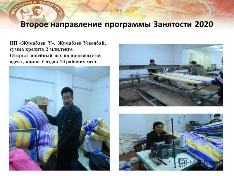 Второе направление программы Занятости 2020 ИП «Жумабаев У». Жумабаев Ускенбай, сумма кредита 2 млн.тенге. Открыл швейный цех по производству одеял, корпе. Создал 10 рабочих мест.