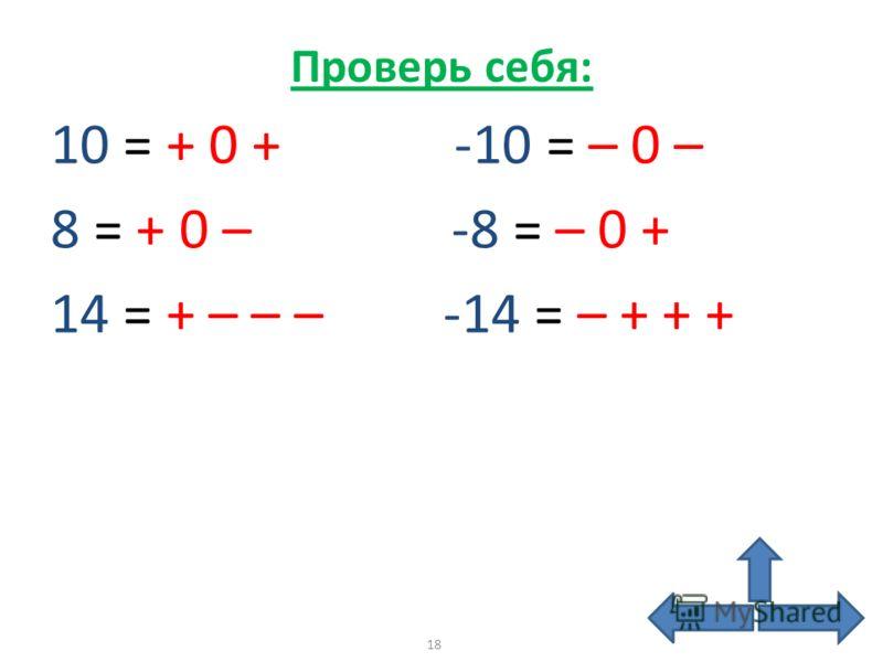 Проверь себя: 10 = + 0 + -10 = – 0 – 8 = + 0 – -8 = – 0 + 14 = + – – – -14 = – + + + 18