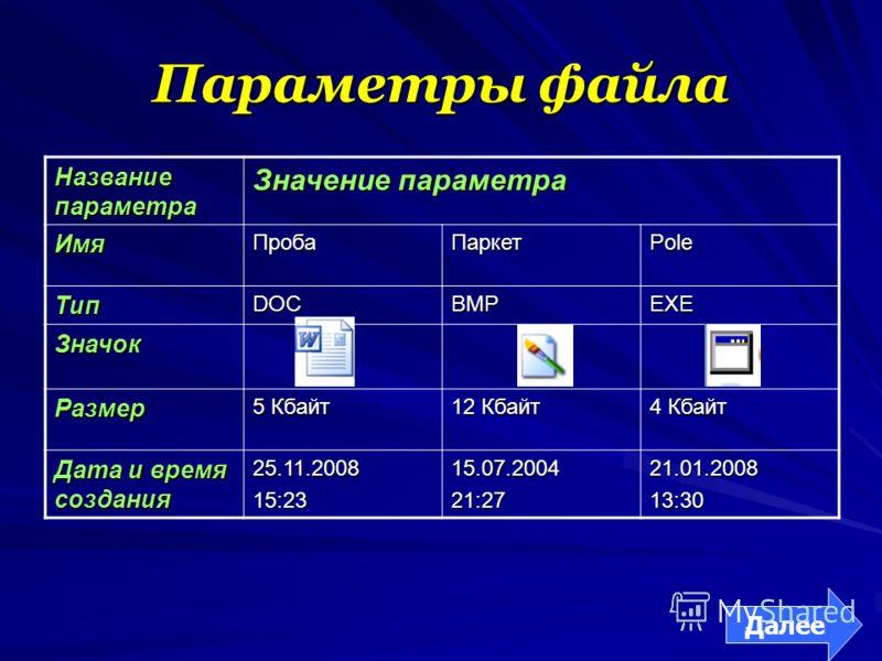 Параметры файла Название параметра Значение параметра ИмяПробаПаркетPole ТипDOCBMPEXE Значок Размер 5 Кбайт 12 Кбайт 4 Кбайт Дата и время создания 25.11.200815:2315.07.200421:2721.01.200813:30 Далее