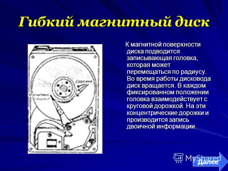 Гибкий магнитный диск К магнитной поверхности диска подводится записывающая головка, которая может перемещаться по радиусу. Во время работы дисковода диск вращается. В каждом фиксированном положении головка взаимодействует с круговой дорожкой. На эти