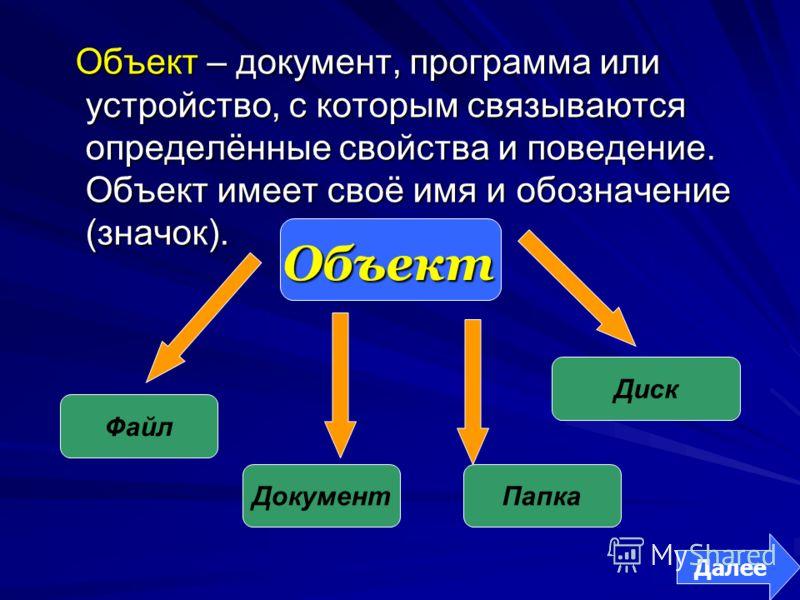 Объект Объект Файл Папка Диск Объект – документ, программа или устройство, с которым связываются определённые свойства и поведение. Объект имеет своё имя и обозначение (значок). Документ Далее