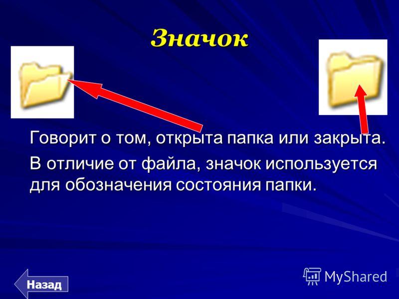 Значок Говорит о том, открыта папка или закрыта. В отличие от файла, значок используется для обозначения состояния папки.