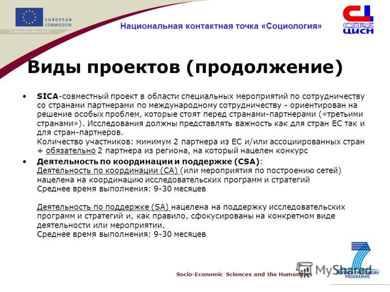 Socio-Economic Sciences and the Humanities Национальная контактная точка «Социология» Виды проектов (продолжение) SICA-совместный проект в области специальных мероприятий по сотрудничеству со странами партнерами по международному сотрудничеству - ори