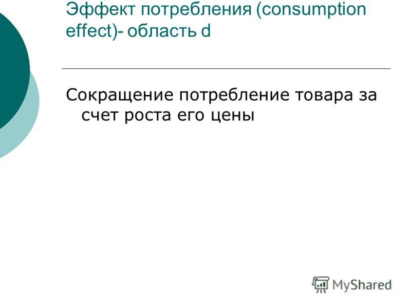 Эффект потребления (consumption effect)- область d Сокращение потребление товара за счет роста его цены