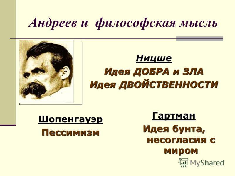 Андреев и философская мысль Ницше Идея ДОБРА и ЗЛА Идея ДВОЙСТВЕННОСТИ ШопенгауэрПессимизм Гартман Идея бунта, несогласия с миром