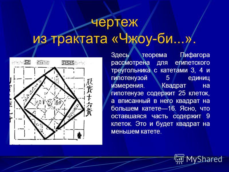 чертеж из трактата «Чжоу-би...». Здесь теорема Пифагора рассмотрена для египетского треугольника с катетами 3, 4 и гипотенузой 5 единиц измерения. Квадрат на гипотенузе содержит 25 клеток, а вписанный в него квадрат на большем катете16. Ясно, что ос