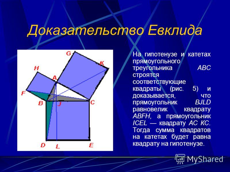 Доказательство Евклида На гипотенузе и катетах прямоугольного треугольника АВС строятся соответствующие квадраты (рис. 5) и доказывается, что прямоугольник BJLD равновелик квадрату ABFH, а прямоугольник ICEL квадрату АС КС. Тогда сумма квадратов на к