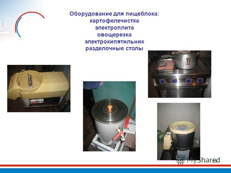 14 Оборудование для пищеблока: картофелечистка электроплита овощерезка электрокипятильник разделочные столы