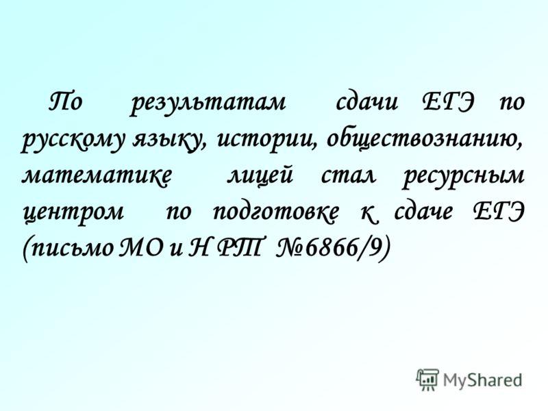 По результатам сдачи ЕГЭ по русскому языку, истории, обществознанию, математике лицей стал ресурсным центром по подготовке к сдаче ЕГЭ (письмо МО и Н РТ 6866/9)