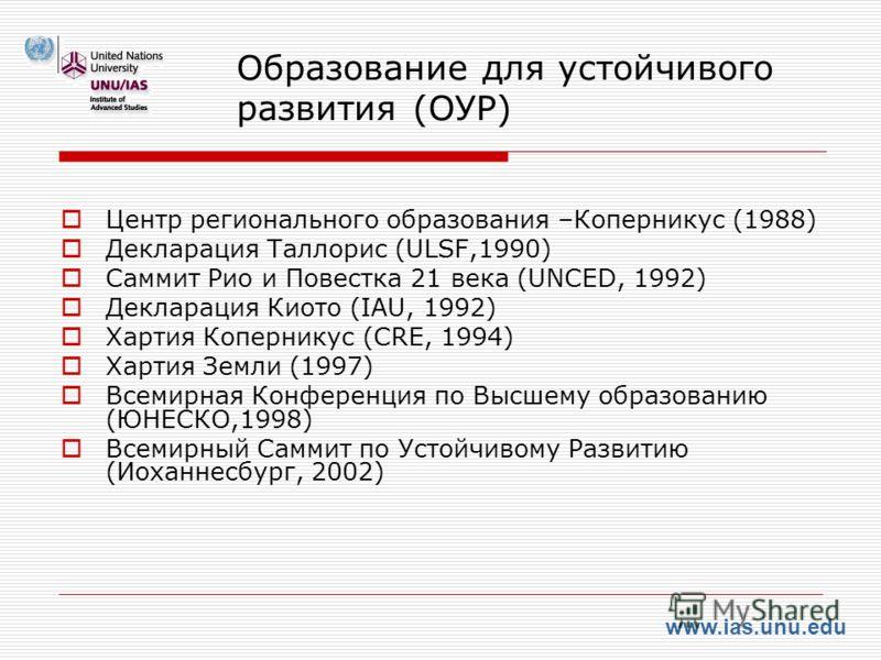 www.ias.unu.edu Образование для устойчивого развития (ОУР) Центр регионального образования –Коперникус (1988) Декларация Таллорис (ULSF,1990) Саммит Рио и Повестка 21 века (UNCED, 1992) Декларация Киото (IAU, 1992) Хартия Коперникус (CRE, 1994) Харти
