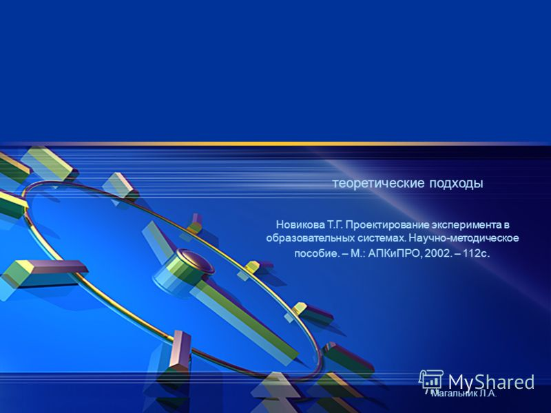 теоретические подходы Магальник Л.А. Новикова Т.Г. Проектирование эксперимента в образовательных системах. Научно-методическое пособие. – М.: АПКиПРО, 2002. – 112с.