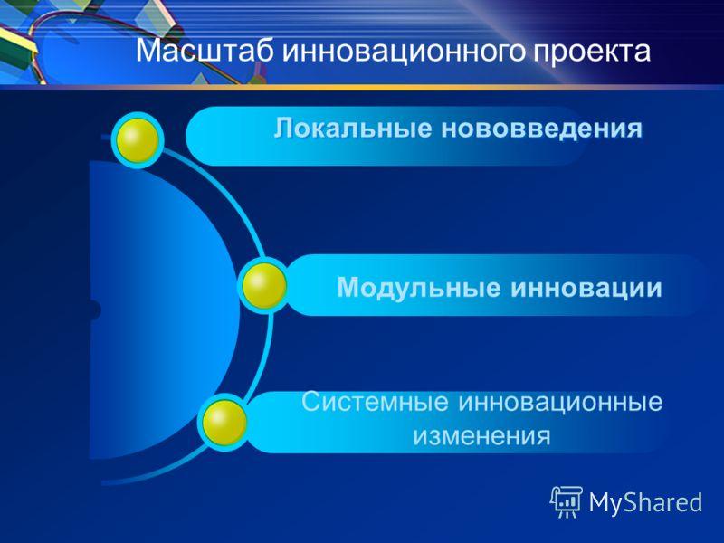 Локальные нововведения Масштаб инновационного проекта Модульные инновации Системные инновационные изменения
