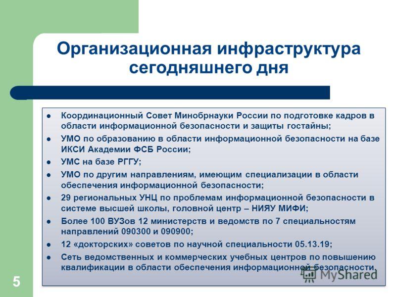 Организационная инфраструктура сегодняшнего дня Координационный Совет Минобрнауки России по подготовке кадров в области информационной безопасности и защиты гостайны; УМО по образованию в области информационной безопасности на базе ИКСИ Академии ФСБ