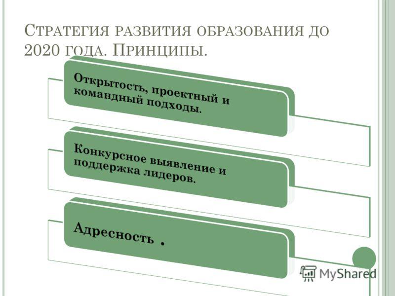 С ТРАТЕГИЯ РАЗВИТИЯ ОБРАЗОВАНИЯ ДО 2020 ГОДА. П РИНЦИПЫ.