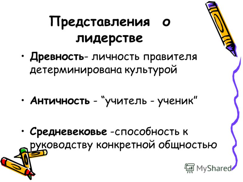 Представления о лидерстве Древность- личность правителя детерминирована культурой Античность - учитель - ученик Средневековье -способность к руководству конкретной общностью