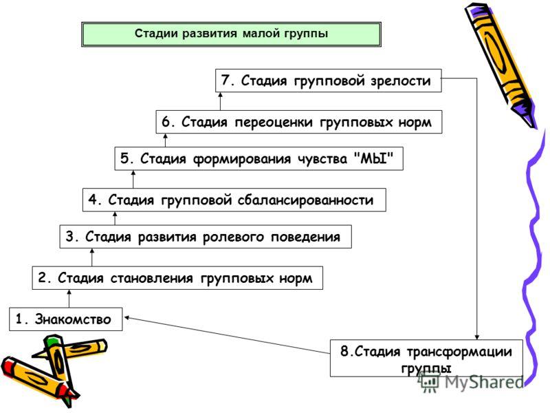 Стадии развития малой группы 1. Знакомство 2. Стадия становления групповых норм 3. Стадия развития ролевого поведения 4. Стадия групповой сбалансированности 5. Стадия формирования чувства