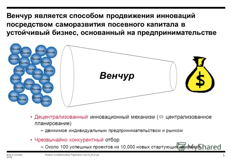 Booz & Company This document is confidential and is intended solely for the use and information of the client to whom it is addressed. Западные подходы к инновациям и развитию венчурных отраслей МНТЦ Семинар/Круглый стол Москва, 12 октября 2009